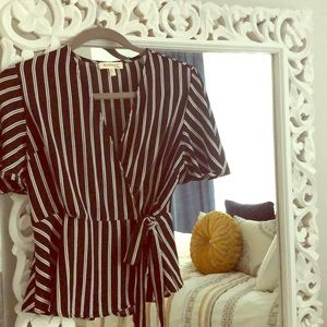 New Black and White wrap blouse